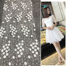 1Yard 3D Floral Embroidered Lace Fabric Craft White Chiffon Flower Wedding Dress
