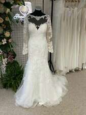 Long Sleeve Ivory Lace Low Back Fishtail Fitted Wedding Dress RRP £1500 Size 14