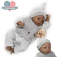 "23"" Reborn Baby Dolls Anatomically Correct African Boy Dolls Black Handmade"