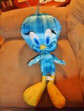 "Tweety Bird Blue Plaid LG Jumbo 20"" Stuffed Plush Six Flags Looney Tune RARE"