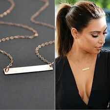 Women Simple Gold Plated Horizontal Stick Bar Bone Pendant Chain Necklace