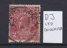 "PERFIN: ""DJ Ltd"" ON KGV  2d BROWN SINGLE WMK  USED AND SCARCE ON THIS STAMP."