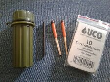 WATERPROOF Match Case 1.0 with UCO StormProof Matches + Firesteel  GREEN