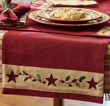 Primitive Country Christmas Star Burlap Table Runner 13x54 Red Cotton Farmhouse