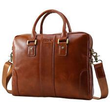 """Luxury Men Leather Attache Briefcase 14"""" Laptop Messenger Shoulder Bag Satchel"""