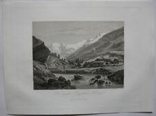 Großer Oetztaler Ferner Tirol Österreich Orig. Aquatinta-Radierung 1840