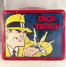 DICK TRACY LUNCH BOX METAL NEW STILL IN CELLOPHANE/ SEALED DATED 1998 W/GOODIES