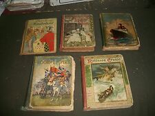 1910'S CHILDREN'S BOOK LOT OF 5 DIFFERENT ROBINSON CRUSOE WONDER BOOK - O 1199