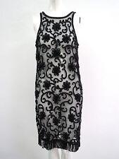 Vtg 1960s Sheath Black Glass Beaded on Net Sleevelss Bead Clusters & Hem Fringe
