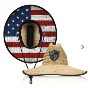 Salt Armour Wide Brim Patriot Straw Hat AMERICAN FLAG UV Protectant Wind Resist