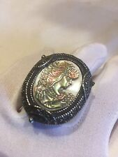 Vintage Real Mother Of Pearl Cameo Marcasite Size 9 Ring