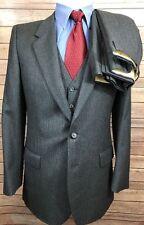 YSL Yves Saint Laurent VTG 80s Wool Blue Striped 3 Piece Suit Men's 38R 31x29