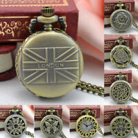 Vintage Steampunk Retro Bronze Design Pocket Watch Quartz Pendan Necklace Gift T