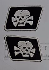 Pair Skull Collar Outlaw Biker Funny Motorcycle Iron On Small Patch