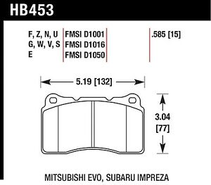 Hawk Performance HB453S.585 Designed For High Deceleration Rates Disc Brake Pads