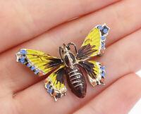 925 Sterling Silver - Vintage Enamel Coated Butterfly Motif Brooch Pin - BP5594