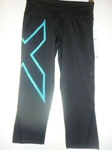 Black turquoise cropped compression tights by 2XU size XXS BNWT