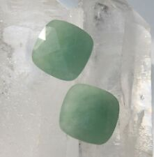Matched Pair Cushion Cut Checkerboard Green Jadeite Jade 15 x 15mm Loose Stones