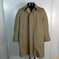 Vtg  Polyester RAINCOAT Rain Trench Coat Mens M 40S 40 short khaki w/liner