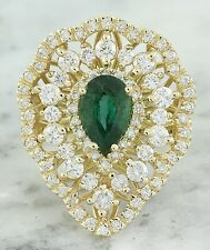 3.42 Carat Natural Emerald 14K Solid Yellow Gold Diamond Ring