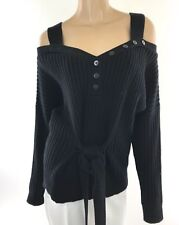 Derek Lam 10 Crosby Petite S Black Cold-Shoulder Ribbed Knit Sweater Waist Tie