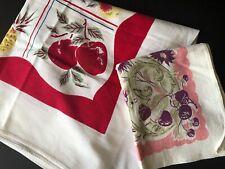 vintage textiles 2 tablecloths fruits and flowers linen cotton Set vibrant color