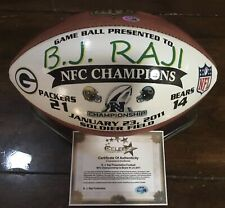 Green Bay Packers BJ Raji NFC Championship Game Used Ball Presentation Football
