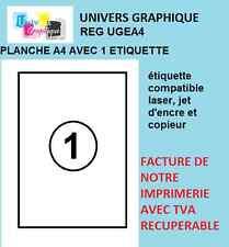 Feuille Autocollante Papier Etiquette A4 21 x 29,7 cm 210x297 mm Multiusages