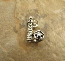 Sterling Silver Charm - 3D LIGHTHOUSE with Cottage - 0498