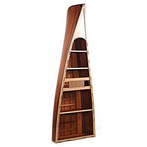 "Bookcase Book Shelf Canoe 90"" Cedar Wood Strip Built Furniture Boat Shaped Decor"