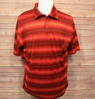 Tiger Woods Men's Shirt Short Sleeve Golf Polo Maroon Red Striped XL