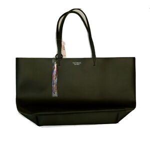 "Victoria's Secret Womens Black Faux Leather Tote Bag Rainbow Tassle 22""x 13"" New"