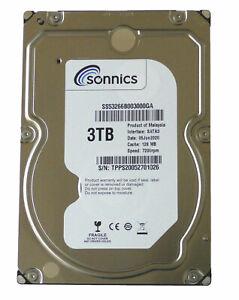 "Sonnics 3TB 3.5"" INCH SATA III INTERNAL HARD DISK DRIVE 7200RPM PC CCTV DVR"