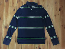 ABERCROMBIE & FITCH MENS NAVY BLUE/GREEN 'MUSCLE FIT' STRIPED POLO SHIRT - SMALL