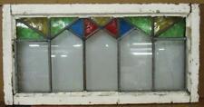 "OLD ENGLISH LEADED STAINED GLASS WINDOW TRANSOM Geometric Zigzag 30"" x 15.5"""