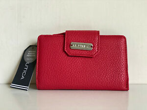 NEW! NAUTICA CLOSE REACH TAB INDEXER RED PEBBLE LEATHER WALLET W/ RFID $35 SALE