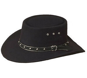 USA Cowboy Western Stetson Hat - Black Felt Gambler Style for Men or Ladies