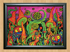 Psychedelic Trippy Funky Mushrooms Audio Video Visualization A4 Photo Print 2