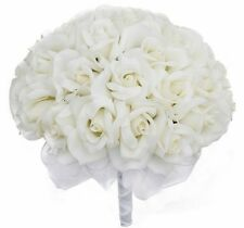 1set Ivory Silk Rose Hand Tie (3 Dozen Roses) - Bridal Wedding Bouquet
