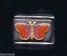 BUTTERFLY ORANGE AND PINK WHOLESALE ITALIAN CHARM 9MM