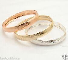 Trio Stackable Diamond Cut Bangle Bracelet 14K Yellow Rose Gold Clad Silver