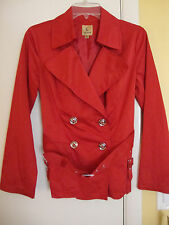 New Kasper Palm Beach Poppy Belted Double Breasted Raincoat Jacket Size 4 Petite