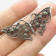 Vtg 925 Sterling Silver Real Marcasite Gemstone Openwork Butterfly Pin Brooch