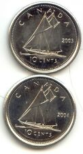 Canada 2003 & 2004 Dimes Canadian 10 Cent Pieces 10c 10 c EXACT COINS SHOWN