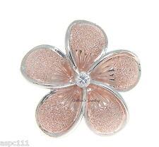 30mm argento sterling 925 HAWAIANO Plumeria Fiore a scivolo rosa oro rosa