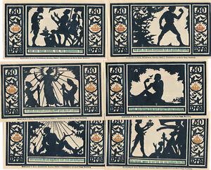 Notgeldscheine 6 x 50 Pfennig Stadt Quedlingburg 1921