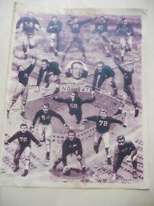 Vintage Notre Dame Football Lithograph-Sepia Photo Image