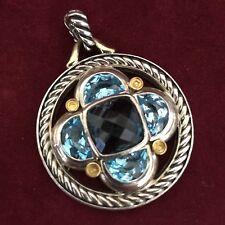 David Yurman Sterling Silver 18K. Gold Blue Topaz & Aquamarine Round Pendant
