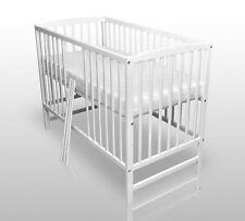 Babybett Kinderbett Gitterbett Weiß Vollmassiv NEU 120x60cm inkl.Matratze
