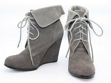 VERY VOLATILE Gray Suede Lace Up Wedge Fashion Ankle Boots Booties 6.5 M Cute!